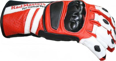 German Wear, Motorradhandschuhe Motorrad Biker Lederhandschuhe rot/weiß – Bild 3