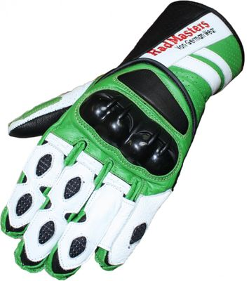 Motorbike gloves Motorcycle Biker Leathergloves green/white