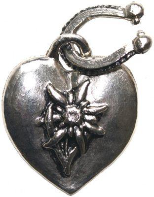 Trachtenanhänger Herzform Edelweiß