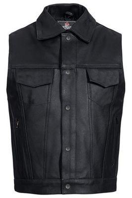 Leather west Motorbike vest Black
