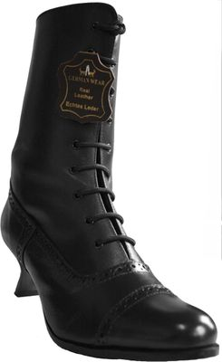 Trachten boots for bavarian Lederhosen & Dirndl shoes glazed leather in ,Color: Black – image 3