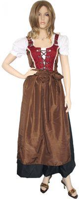 Four Pieces Long Dirndl Bavarian Ladies Dress,Color: Brown,Wine Red, Black