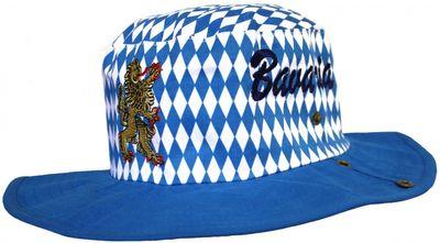 German Wear, Bayrischer Hut Trachtenhut Bayernmuster Cowboy Oktoberfest blau – Bild 1