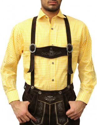 Bavarian Shirt For Lederhosen & Oktoberfest,Color: Yellow Checkered – image 2