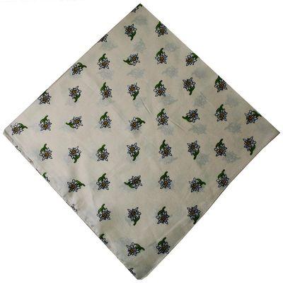 German Wear, Trachtentuch Halstuch mit Edelweissmuster Nikituch 60x60cm cremeweiß