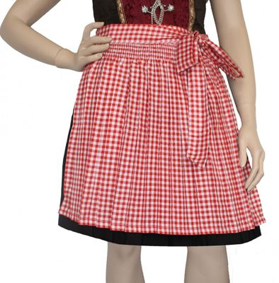 mini Dirndl Apron Traditional Apron, Colour: Red Checkered Small, German Wear – image 1