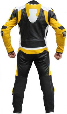 Motorbike motorcycle leathers 1 one piece suit real Cowhide leather black, white and yellow – image 3