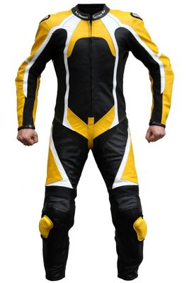 Motorbike motorcycle leathers 1 one piece suit real Cowhide leather black, white and yellow