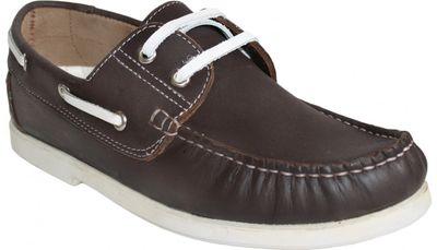 Bootsschuhe Halbschuhe Segelschuhe aus echtem Rindsleder Schuhe braun/weiß