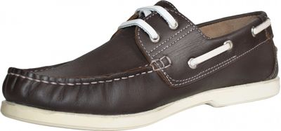 Boat Shoes made of real Cowhide,Color: Brown/White – image 2