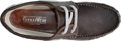 Boat Shoes made of real Cowhide,Color: Brown/White – image 8
