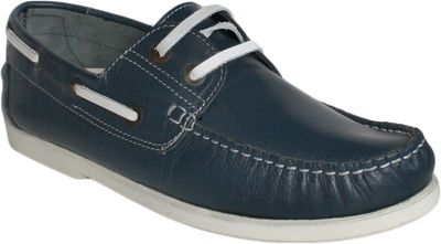 Boat Shoes made of real Cowhide,Color: Blue/White – image 1
