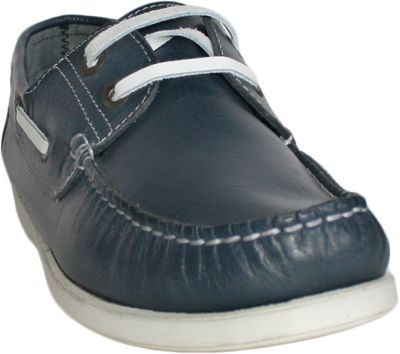 Boat Shoes made of real Cowhide,Color: Blue/White – image 5