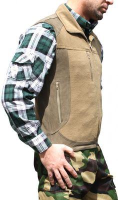 Hunting vest Fleece And Leather Trachten Vest,Color: Brown – image 2