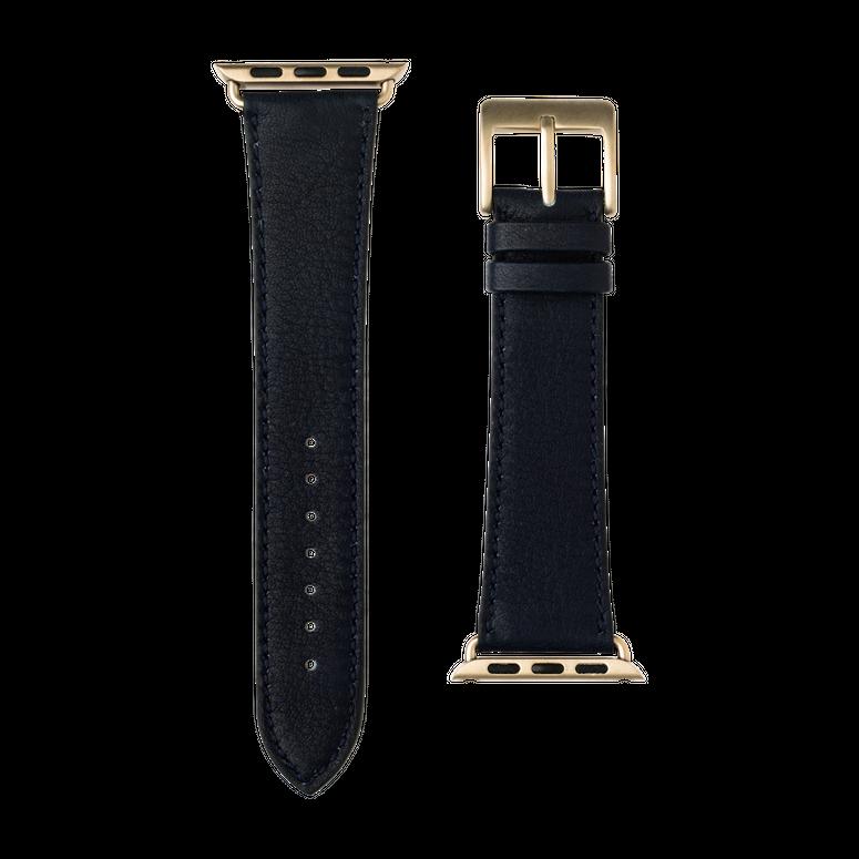 Sauvage Leder Armband in Dunkelblau für die Apple Watch Series 1, 2, 3 & 4 in 38mm, 40mm, 42mm & 44mm Gehäusegröße von Roobaya - Made in Germany – Bild 3