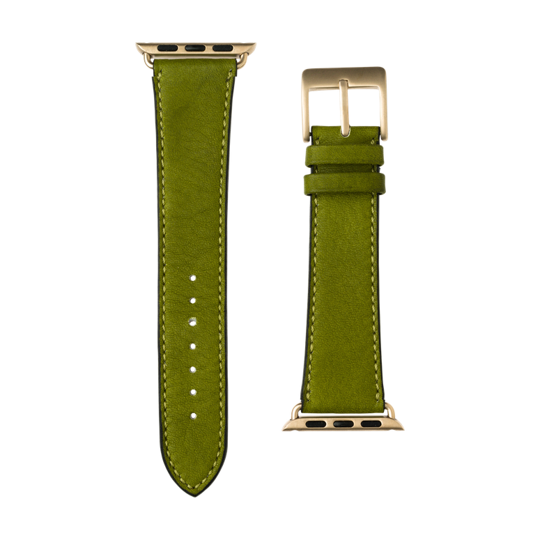 Cinturino Apple Watch in pelle sauvage color verde muschio | Roobaya – Bild 3