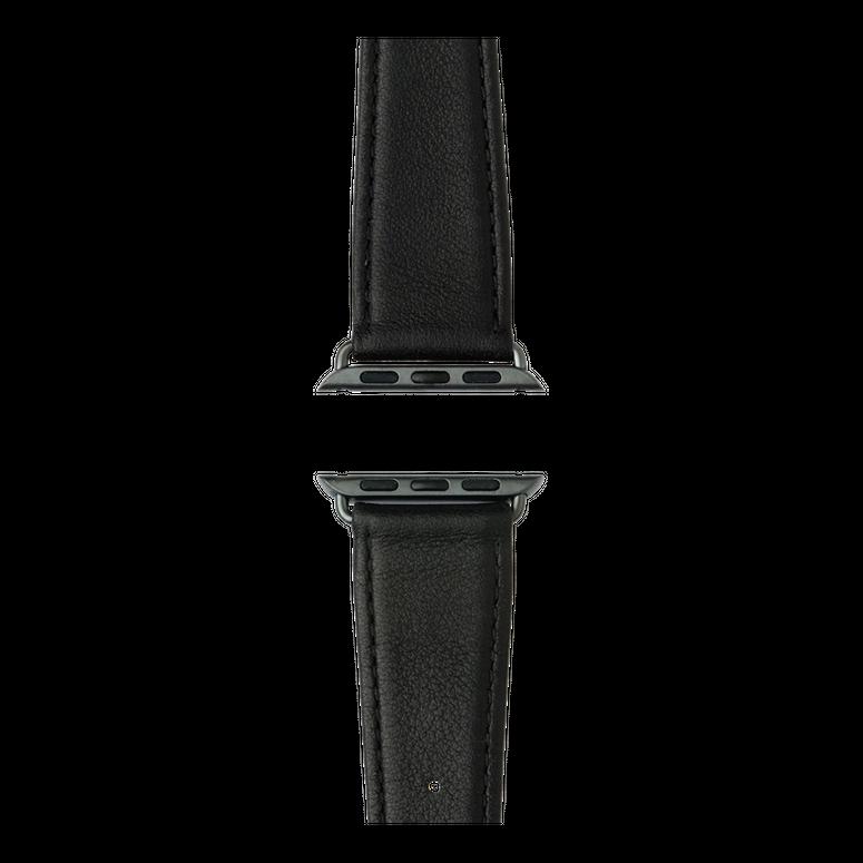 Nappa Leder Armband in Schwarz für die Apple Watch Series 1, 2, 3 & 4 in 38mm, 40mm, 42mm & 44mm Gehäusegröße von Roobaya - Made in Germany – Bild 4