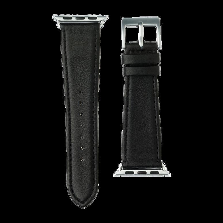 Nappa Leder Armband in Schwarz für die Apple Watch Series 1, 2, 3 & 4 in 38mm, 40mm, 42mm & 44mm Gehäusegröße von Roobaya - Made in Germany – Bild 3