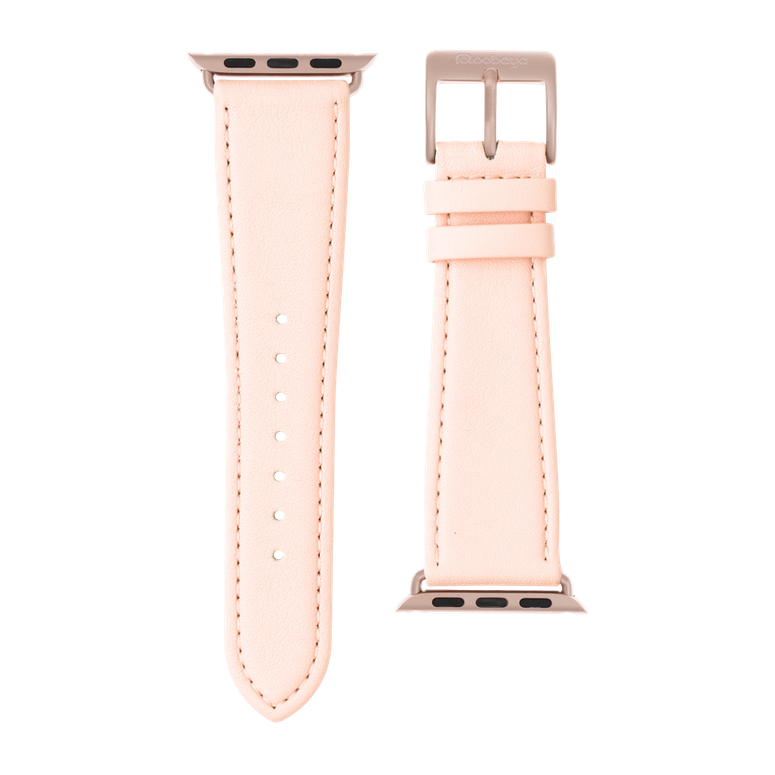 Nappa Leder Armband in Hellrosa für die Apple Watch Series 1, 2, 3 & 4 in 38mm, 40mm, 42mm & 44mm Gehäusegröße von Roobaya - Made in Germany – Bild 3