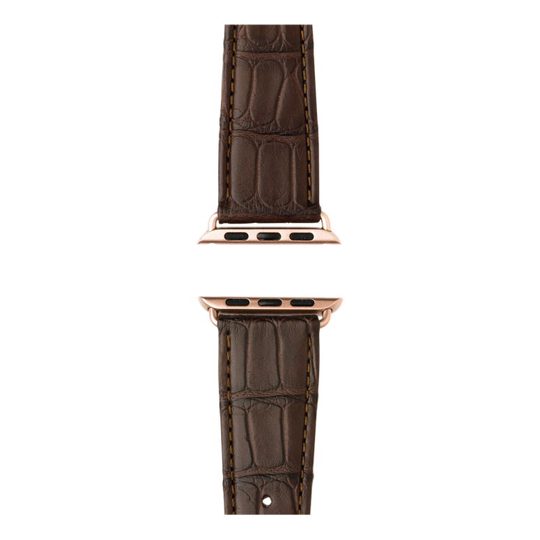 Bracelet Apple Watch cuir alligator marron foncé | Roobaya – Bild 4