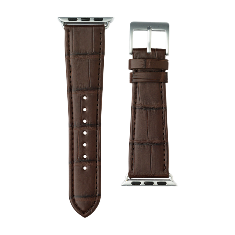 Alligator Leder Armband in Dunkelbraun für die Apple Watch Series 1, 2, 3 & 4 in 38mm, 40mm, 42mm & 44mm Gehäusegröße von Roobaya - Made in Germany – Bild 3