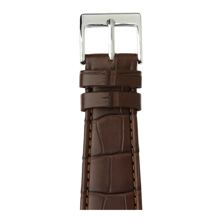 Alligator Leder Armband in Dunkelbraun für die Apple Watch Series 1, 2, 3 & 4 in 38mm, 40mm, 42mm & 44mm Gehäusegröße von Roobaya - Made in Germany – Bild 1