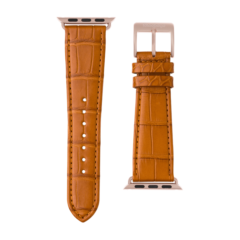 Bracelet Apple Watch cuir alligator cognac | Roobaya – Bild 3