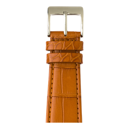Alligator Leder Armband in Cognac für die Apple Watch Series 1, 2, 3 & 4 in 38mm, 40mm, 42mm & 44mm Gehäusegröße von Roobaya - Made in Germany