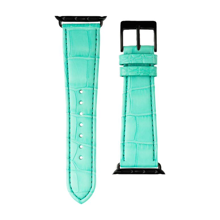 Bracelet Apple Watch cuir alligator turquoise | Roobaya – Bild 3
