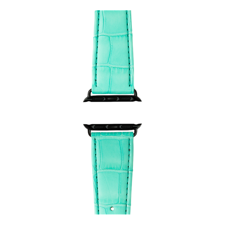 Bracelet Apple Watch cuir alligator turquoise | Roobaya – Bild 4