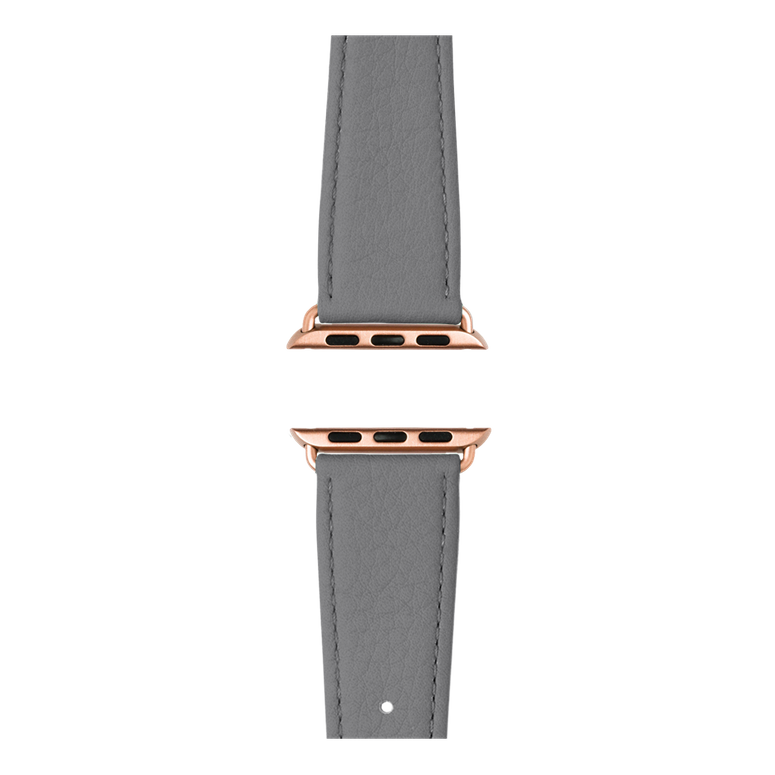 Nappa leather watch band in dark grey for the Apple Watch Series 1, 2, 3 & 4 in size 38mm, 40mm, 42mm & 44mm by Roobaya - Made in Germany – Bild 4