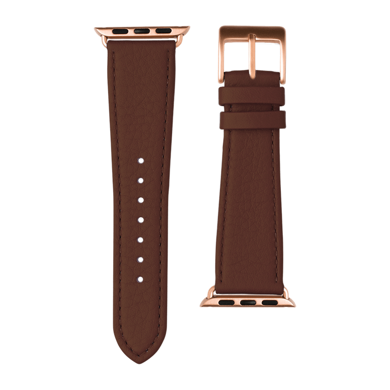 Nappa leather watch band in medium brown for the Apple Watch Series 1, 2, 3 & 4 in size 38mm, 40mm, 42mm & 44mm by Roobaya - Made in Germany – Bild 3