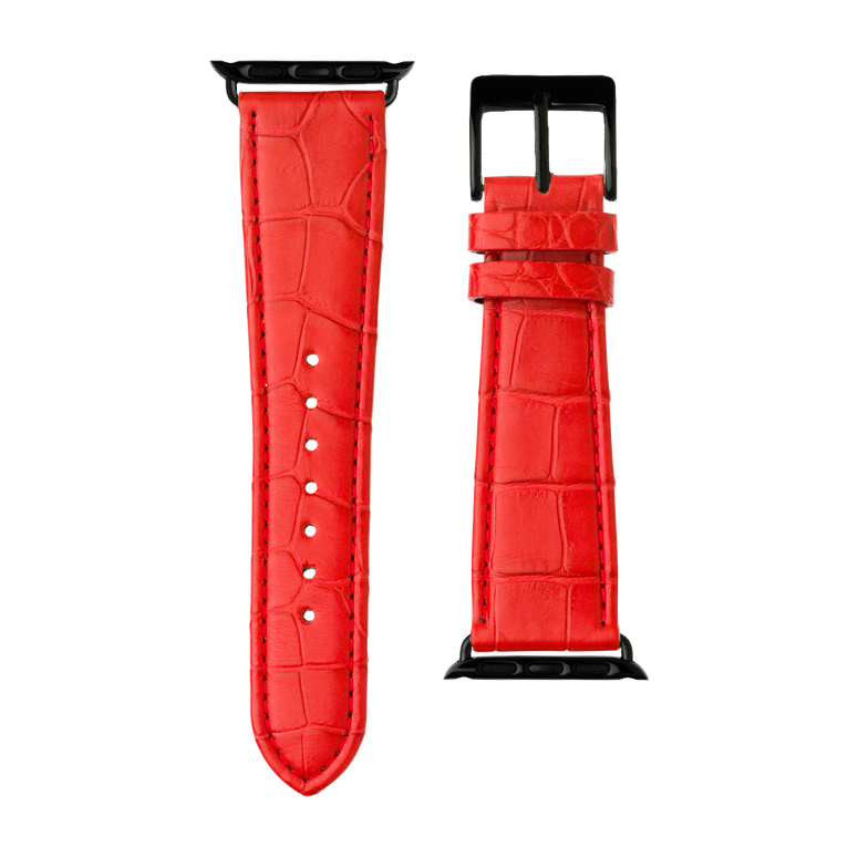 Bracelet Apple Watch cuir alligator rouge | Roobaya – Bild 3