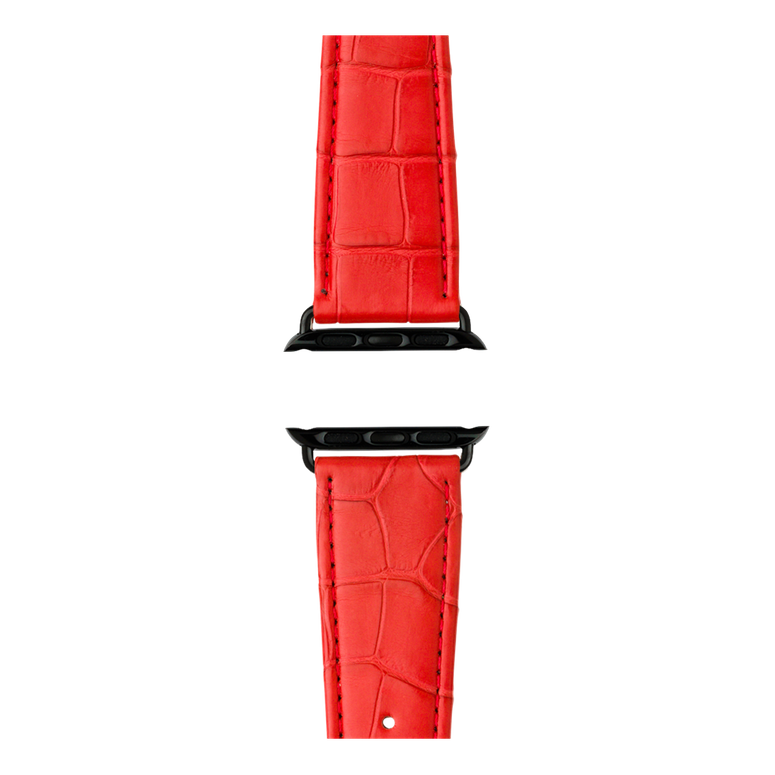 Bracelet Apple Watch cuir alligator rouge | Roobaya – Bild 4