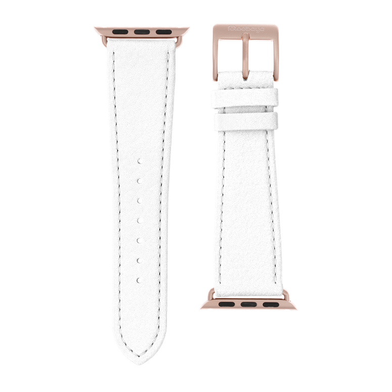 Nappa leather watch band in white for the Apple Watch Series 1, 2, 3 & 4 in size 38mm, 40mm, 42mm & 44mm by Roobaya - Made in Germany – Bild 3