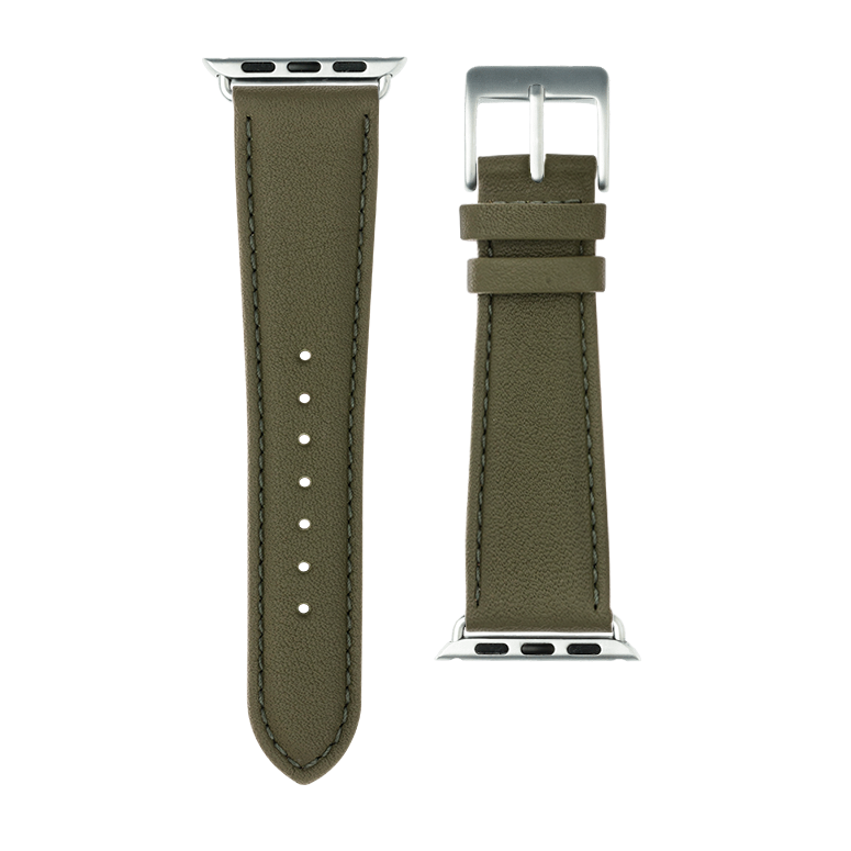 Nappa leather watch band in olive green for the Apple Watch Series 1, 2, 3 & 4 in size 38mm, 40mm, 42mm & 44mm by Roobaya - Made in Germany – Bild 3