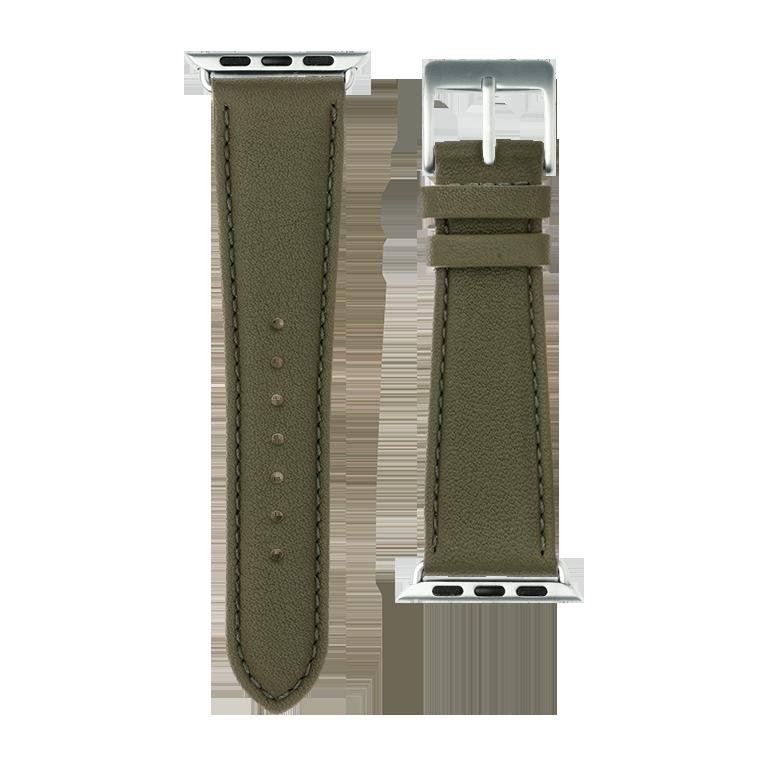 Bracelet Apple Watch cuir nappa vert olive | Roobaya – Bild 3