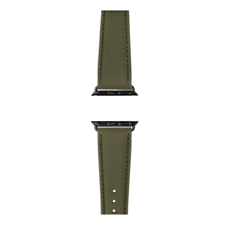 Nappa leather watch band in olive green for the Apple Watch Series 1, 2, 3 & 4 in size 38mm, 40mm, 42mm & 44mm by Roobaya - Made in Germany – Bild 4