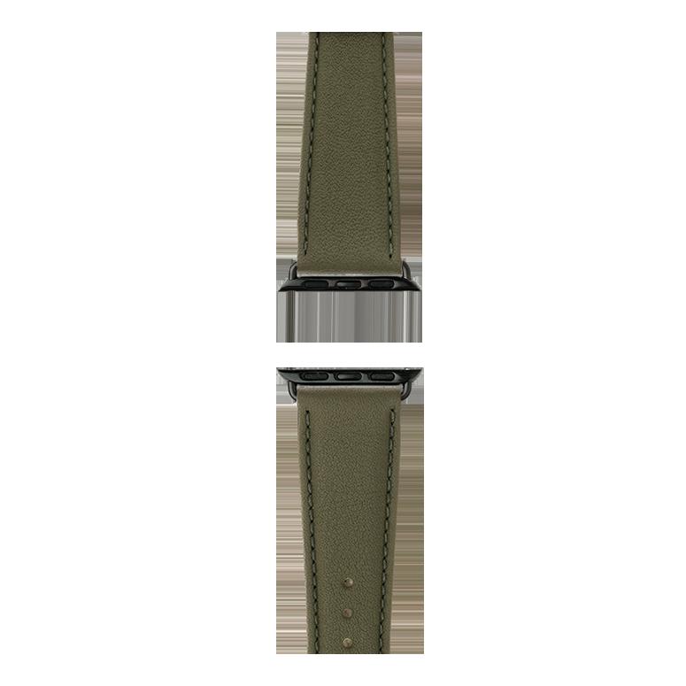 Bracelet Apple Watch cuir nappa vert olive | Roobaya – Bild 4
