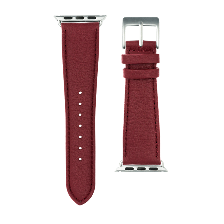 Nappa leather watch band in burgundy for the Apple Watch Series 1, 2, 3 & 4 in size 38mm, 40mm, 42mm & 44mm by Roobaya - Made in Germany – Bild 3