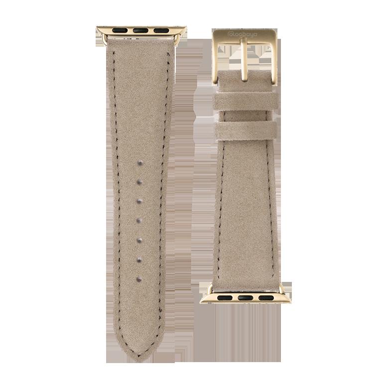 Alcantara Armband in Sand für die Apple Watch Series 1, 2, 3 & 4 in 38mm, 40mm, 42mm & 44mm Gehäusegröße von Roobaya - Made in Germany – Bild 3