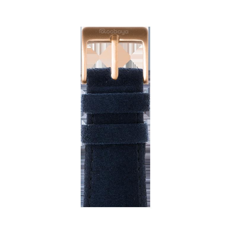 Alcantara Armband in Dunkelblau für die Apple Watch Series 1, 2, 3 & 4 in 38mm, 40mm, 42mm & 44mm Gehäusegröße von Roobaya - Made in Germany – Bild 2