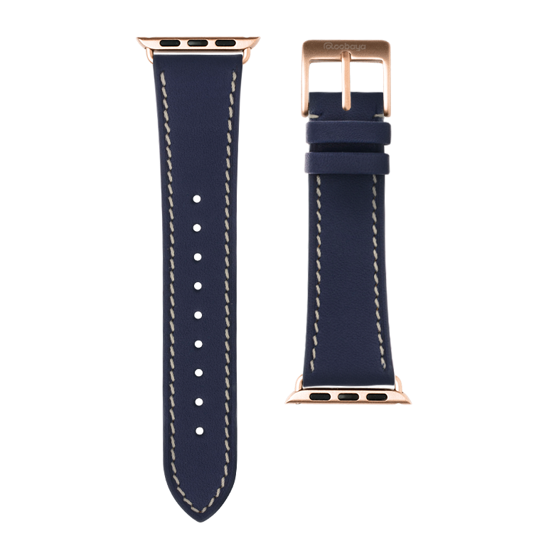 French Calf Leder Armband in Dunkelblau für die Apple Watch Series 1, 2, 3 & 4 in 38mm, 40mm, 42mm & 44mm Gehäusegröße von Roobaya - Made in Germany – Bild 3