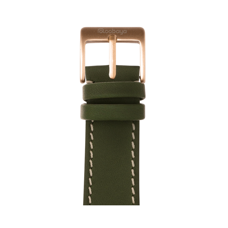 French Calf Leder Armband in Grün für die Apple Watch Series 1, 2, 3 & 4 in 38mm, 40mm, 42mm & 44mm Gehäusegröße von Roobaya - Made in Germany – Bild 2