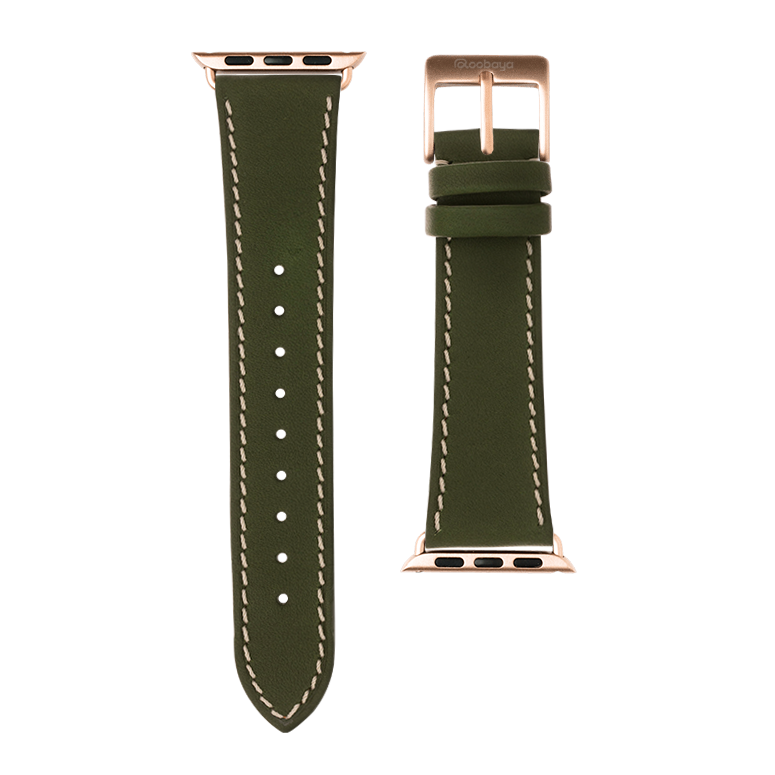 French Calf Leder Armband in Grün für die Apple Watch Series 1, 2, 3 & 4 in 38mm, 40mm, 42mm & 44mm Gehäusegröße von Roobaya - Made in Germany – Bild 3