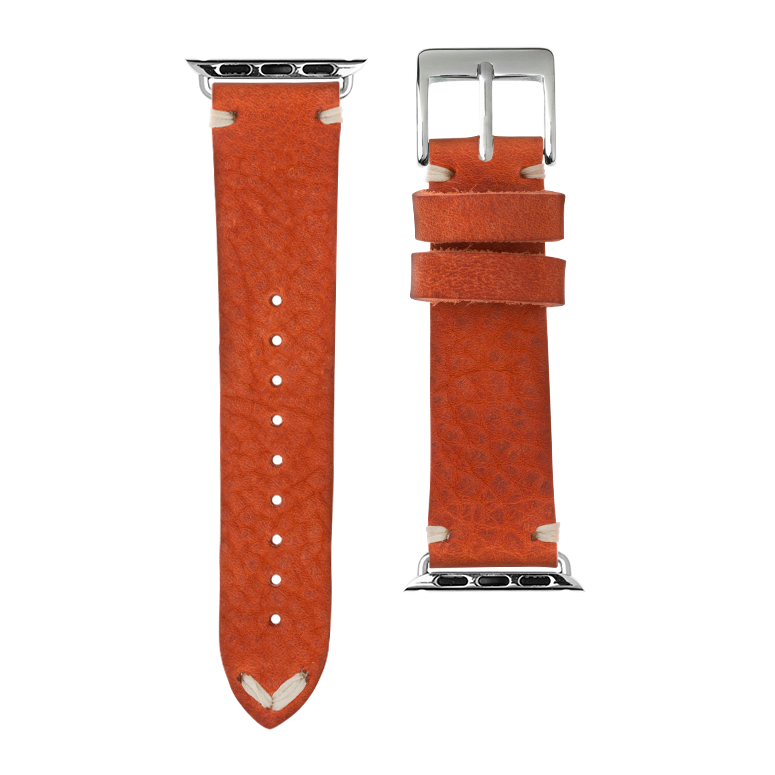 Vintage Leder Armband in Orange für die Apple Watch Series 1, 2, 3 & 4 in 38mm, 40mm, 42mm & 44mm Gehäusegröße von Roobaya - Made in Germany – Bild 3