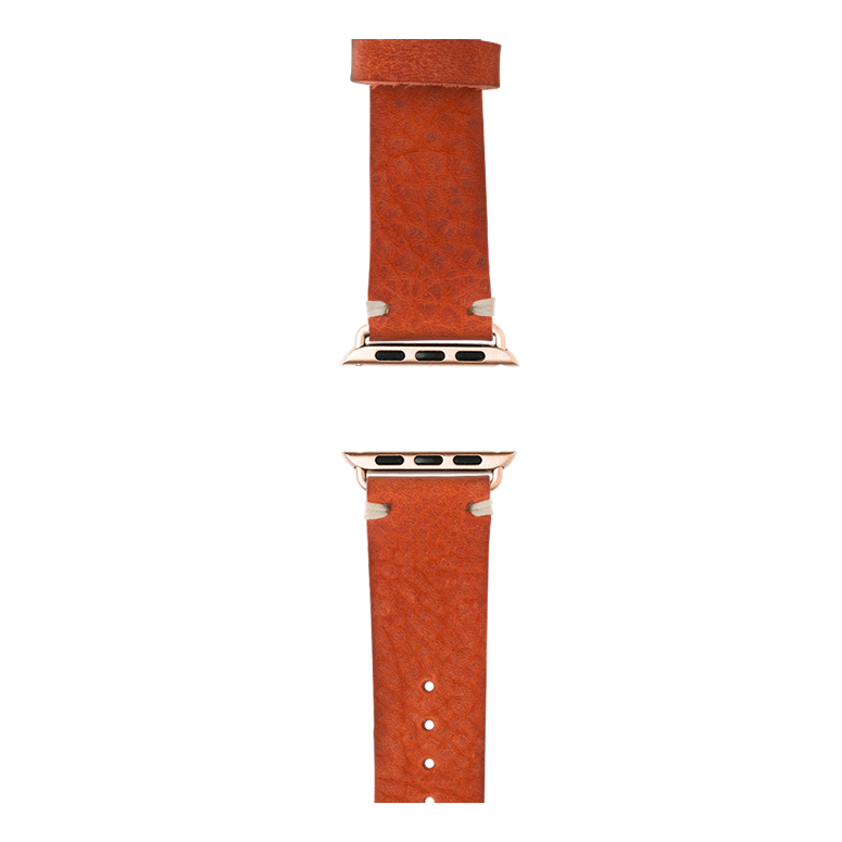 Vintage Leder Armband in Orange für die Apple Watch Series 1, 2, 3 & 4 in 38mm, 40mm, 42mm & 44mm Gehäusegröße von Roobaya - Made in Germany – Bild 4
