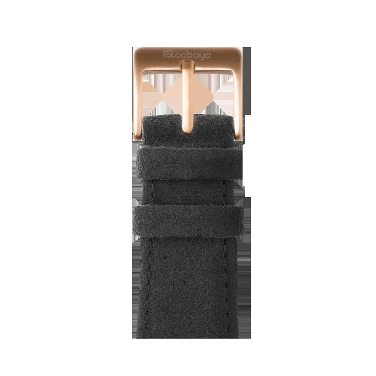 Alcantara Armband in Dunkelgrau für die Apple Watch Series 1, 2, 3 & 4 in 38mm, 40mm, 42mm & 44mm Gehäusegröße von Roobaya - Made in Germany – Bild 2