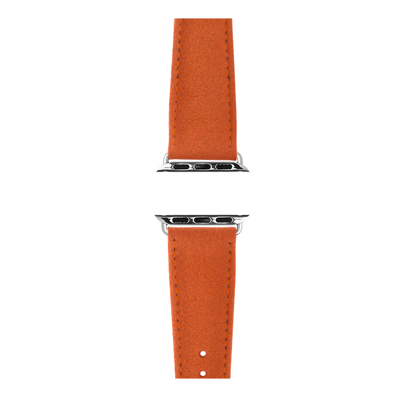 Alcantara Armband in Orange für die Apple Watch Series 1, 2, 3 & 4 in 38mm, 40mm, 42mm & 44mm Gehäusegröße von Roobaya - Made in Germany – Bild 4