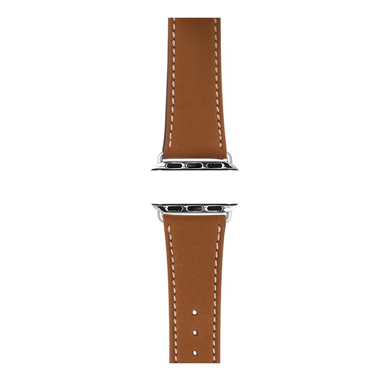 French Calf Leder Armband in Cognac für die Apple Watch Series 1, 2, 3 & 4 in 38mm, 40mm, 42mm & 44mm Gehäusegröße von Roobaya - Made in Germany – Bild 4